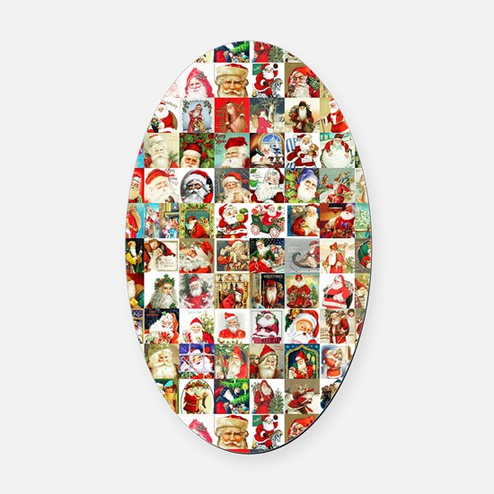 Many Many Santas Oval Car Magnet
