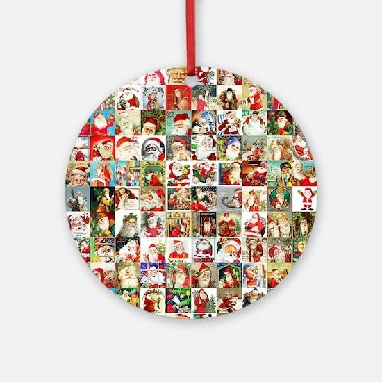 Many Many Santas Round Ornament