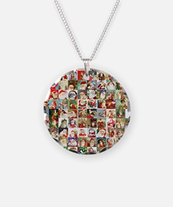 Many Many Santas Necklace Circle Charm