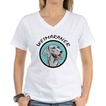 weimaraner circle portrait Women's V-Neck T-Shirt