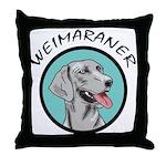 weimaraner circle portrait Throw Pillow