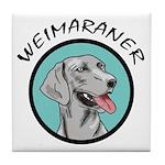 weimaraner circle portrait Tile Coaster