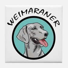 weimaraner circle portrait Tile Coaster