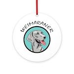 weimaraner circle portrait Ornament (Round)