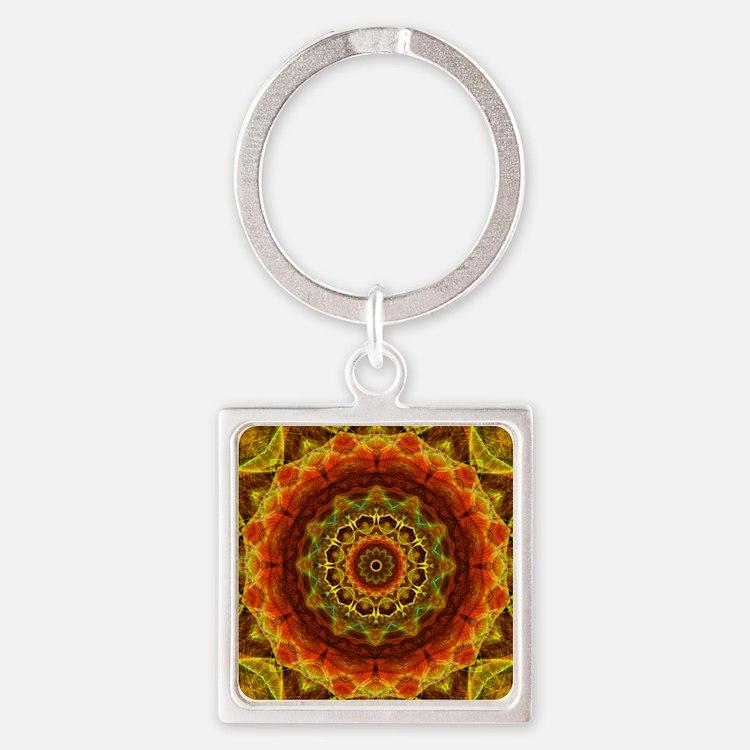 Gold Button Mandala Square Keychain