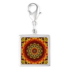Gold Button Mandala Silver Square Charm
