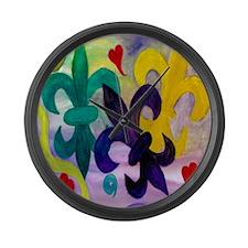 Mardi Gras Fleur de lis Large Wall Clock