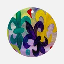 Mardi Gras Fleur de lis Round Ornament