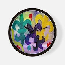 Mardi Gras Fleur de lis Wall Clock