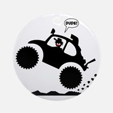 BAJA BUG WHEELIES black image Round Ornament