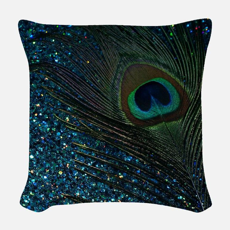 Glittery Aqua Peacock Woven Throw Pillow