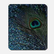 Glittery Aqua Peacock Mousepad