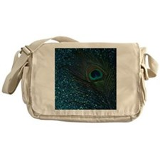 Glittery Aqua Peacock Messenger Bag