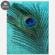 Metallic Aqua Peacock Puzzle