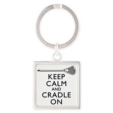 Keep Calm And Cradle On Square Keychain