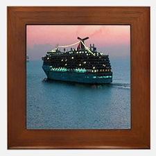 Cruise Ship at Sunset Framed Tile