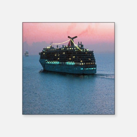 """Cruise Ship at Sunset Square Sticker 3"""" x 3"""""""