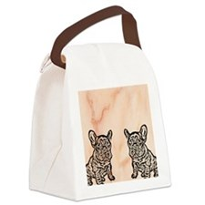 French Bulldog Flip Flops Canvas Lunch Bag