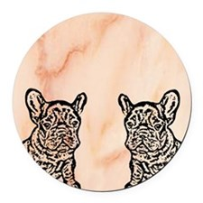 French Bulldog Flip Flops Round Car Magnet