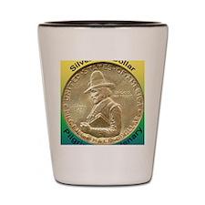 Pilgrim Tercentenary Half Dollar Coin  Shot Glass