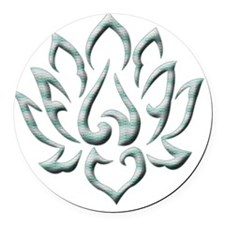 Lotus Flower blue lines Round Car Magnet
