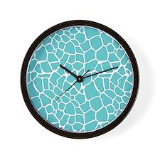 Giraffe print aqua Wall Clock