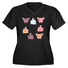When Pigs Fl Women's Plus Size Dark V-Neck T-Shirt