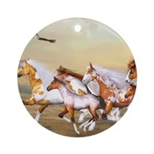 Wild Horses Herd Round Ornament