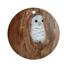StephanieAM Baby Owl Round Ornament