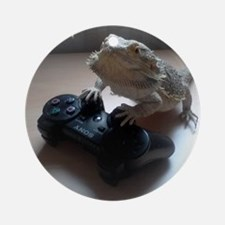 Gaming Bearded Dragon Round Ornament