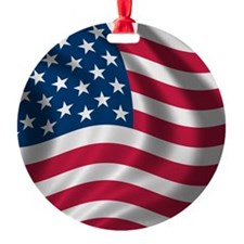USA Flag Round Ornament
