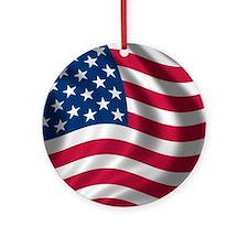 USA Flag Round Ornament