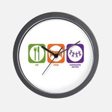 Eat Sleep Community Service Wall Clock
