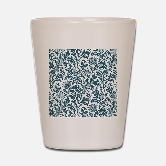 William Morris Thistle Pattern Blue Whi Shot Glass