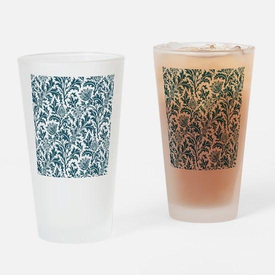 William Morris Thistle Pattern Blue Drinking Glass