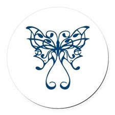 Blue Butterfly Round Car Magnet
