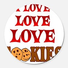 Love Love Cookies Round Car Magnet