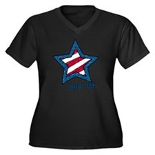 July 4th Women's Plus Size Dark V-Neck T-Shirt