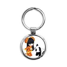 Kawaii China Girl Round Keychain