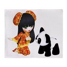 Kawaii China Girl Throw Blanket