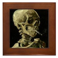 Skull with Cigarette Framed Tile