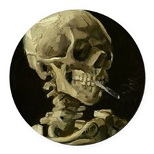 Skull with Cigarette Round Car Magnet