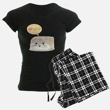 Kawaii tofu asking people to Pajamas