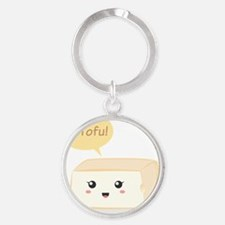 Kawaii tofu asking people to love t Round Keychain