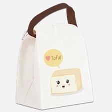 Kawaii tofu asking people to love Canvas Lunch Bag