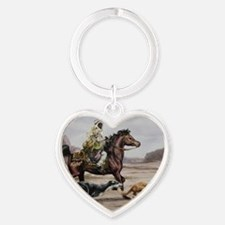 Bedouin Riding with Saluki Hounds Heart Keychain