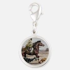 Bedouin Riding with Saluki Hou Silver Round Charm