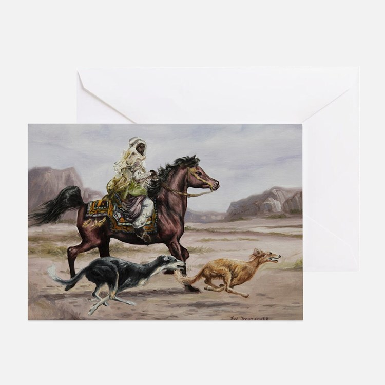 Bedouin Riding with Saluki Hounds Greeting Card