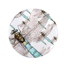 """Dragonfly Air Force on White 3.5"""" Button"""