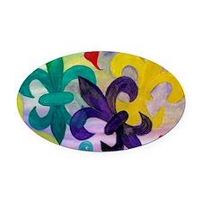 Mardi Gras Fleur de lis Oval Car Magnet